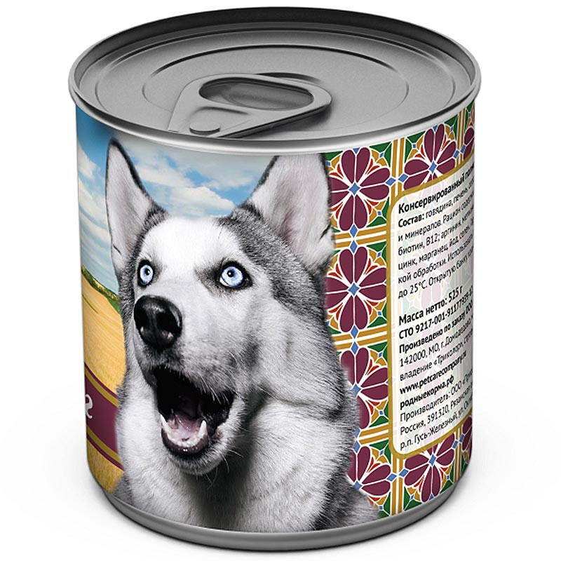 Корм «родные корма» для собак