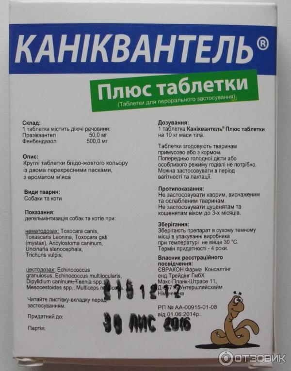 Каниквантел плюс для собак: инструкция, описание препарата