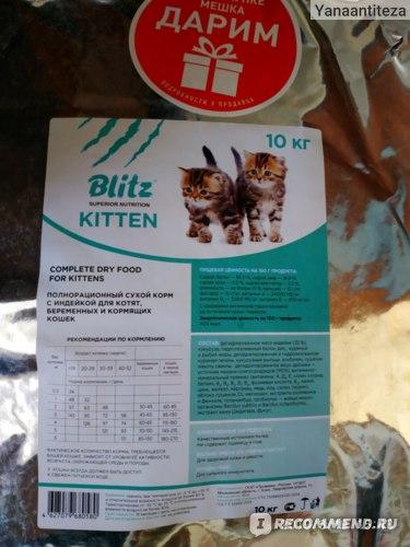 Blitz корм для кошек — анализ состава, ассортимент