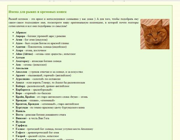 Имена для кошек на английском языке (female cat names, girl kitten names)
