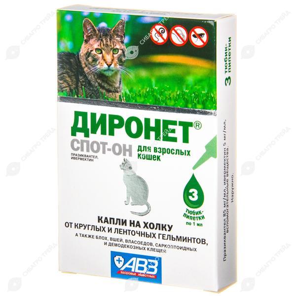 Диронет спот-он для кошек, инструкция по применению: как использовать капли на холку?