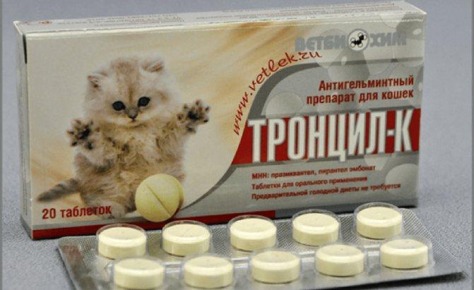 Тронцил-к для кошек: применение, дозировка, противопоказания
