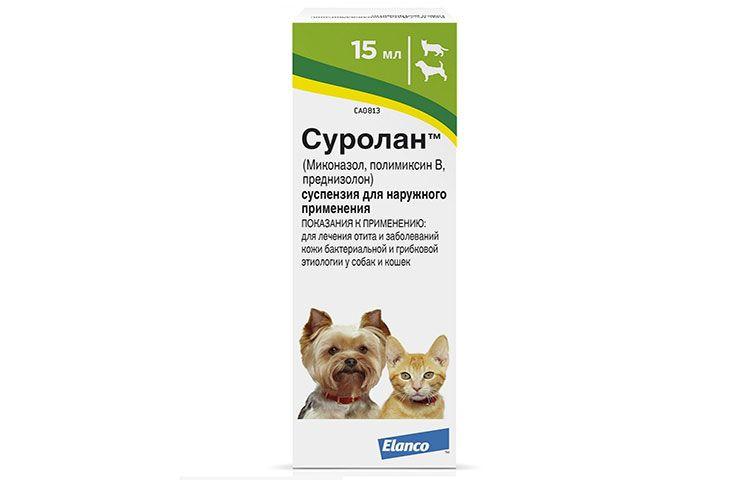 Суролан – ушные капли для собак от отита