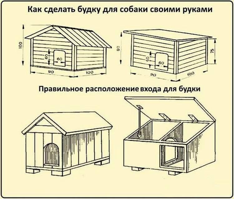 Будка для собаки своими руками: чертежи, размеры   (55 фото)
