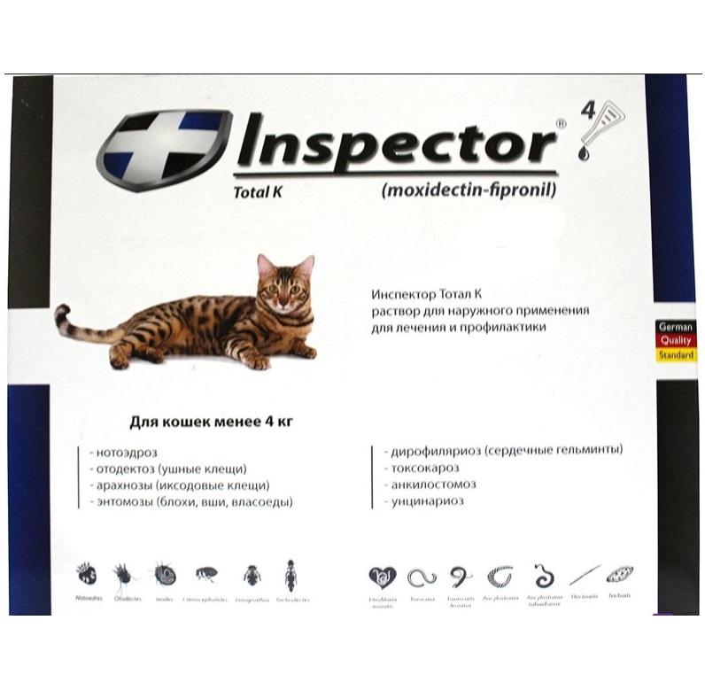 Инспектор для кошек от блох и клещей — состав, как применять, отзывы, аналоги