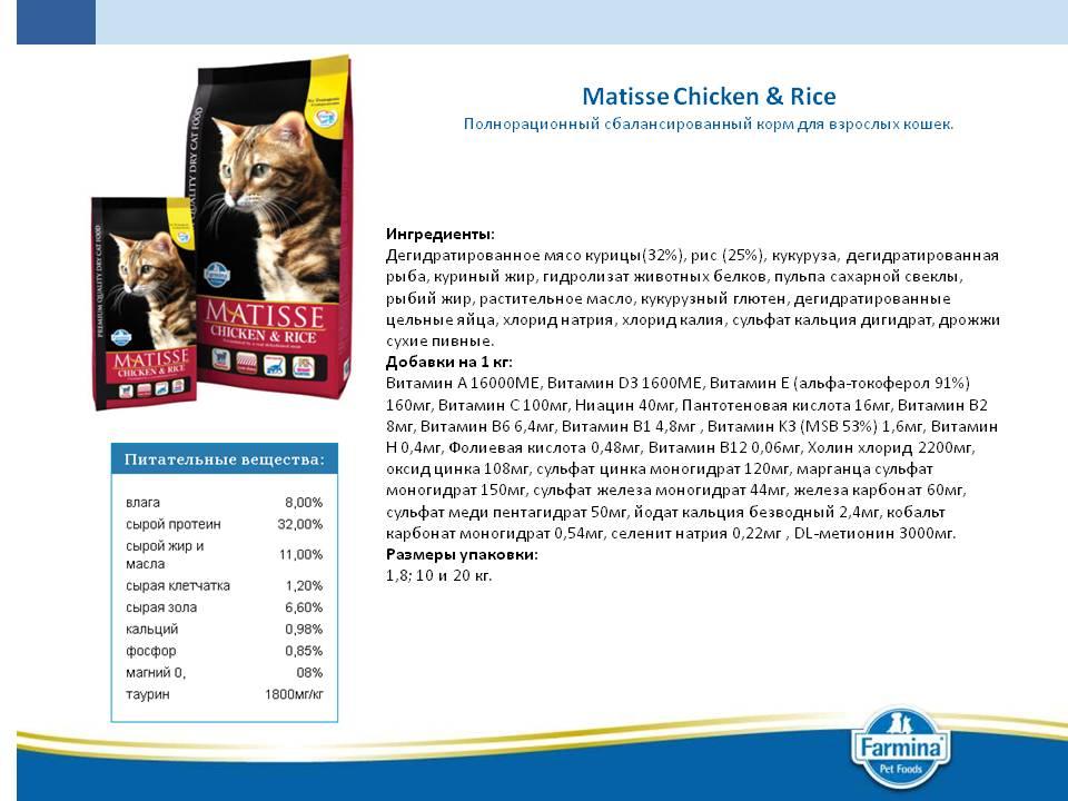 Корм для кошек матисс — обзор видов, состав